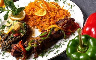 LAMB FROM THE LAVA ROCK GRILL WITH SAFFRON RICE KABOBE TEEKA NAREGJ PALAU | Afghan Restaurant BAMYAN NARGES MUNICH